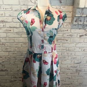 Guess Jeans Floral Dress Pink White Green Mad Men